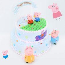 Ricco小猪佩奇卡通双层生日蛋糕,享受和佩奇一样的幸福