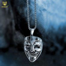 欧美潮牌嘻哈hiphop装饰品,个性笑脸面具钛钢吊坠