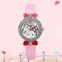可爱Hello Kitty石英防水卡通女童手表,让宝宝爱上时间