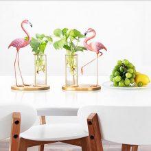 铁艺火烈鸟水培花瓶摆件,小清新创意花瓶摆件超好看