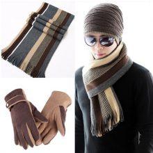 英伦男士围巾手套帽子套装,冬季送男友的温暖心意