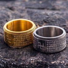 转动款佛经男士戒指,神秘时尚魅力尽现