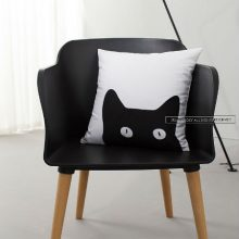 咪咖北欧创意卡通靠垫,猫黑黑喵小姐靠枕多款可选