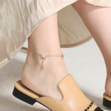 玫瑰金蝴蝶脚链,让你的脚部看起来性感十足
