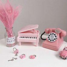 少女心放映室可爱储蓄罐摆件,仿真电话钢琴存钱罐可选