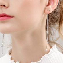 韩国气质流苏银耳环,一款可以修饰脸型的耳饰