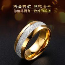 钨金镶嵌银箔男士指环戒指,彰显男人独特的魅力