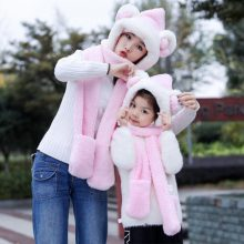帽子手套围巾亲子一体三件套,和女儿过一个温暖的冬天