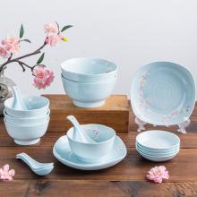 淡雅清新日式雪花釉碗碟礼盒,朋友搬家送一份更精美的礼品