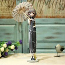 中式旗袍姑娘树脂摆件,复古创意工艺小摆设