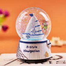 欧式风格发光雪花球音乐盒,有冰雪奇缘机器猫薰衣草可选