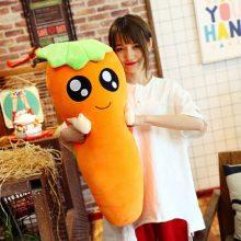 可爱胡萝卜长条毛绒玩具,挤眼款微笑色亲亲款多款可选