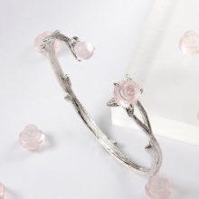 JEWME天然粉水晶玫瑰花手镯,可以带来桃花运哦