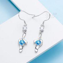 韩版紫水晶耳钉,送给老婆女友的浪漫礼物