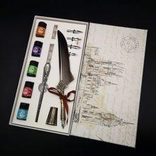 欧式复古羽毛笔印章礼盒,高端复古羽毛笔三蜡套装