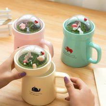 创意微景观卡通陶瓷杯,有多种颜色可以选择