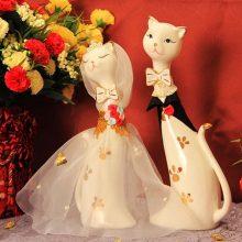 浪漫情侣猫咪陶瓷摆件,可爱又浪漫的高档订婚结婚礼物