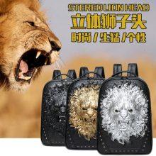 创意3D立体狮子头铆钉双肩背包,这个包包够拉风!