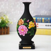 炭雕工艺国色天香花瓶,还可以吸甲醛去异味
