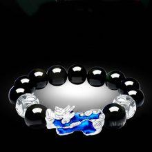 天然黑曜石变色貔貅手链,可刻字的纯银首饰