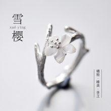 花芽原创樱花女士戒指,唯美个性的S925纯银戒指