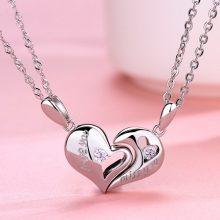吊坠相吸纯银情侣项链,见证你们浪漫爱情的定情信物