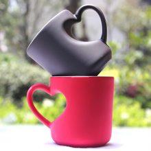 DIY陶瓷变色桃心马克杯,一款支持照片定制的创意水杯