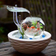创意实用流水器摆设,一款可以养鱼的迷你小池塘
