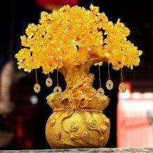 黄水晶发财树招财树摆件,能够揽财的开业礼物