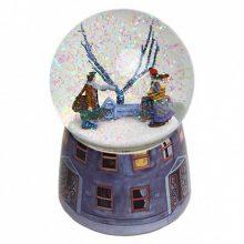 几米相遇水晶球音乐盒,带雪花可旋转可发光可声控