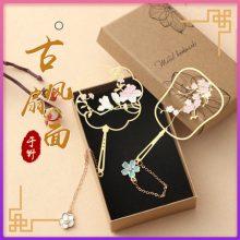 古典中国风樱花团扇金属书签,古风文化值得推荐