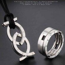 钛钢变形项链指环戒指,无论怎么戴都很帅