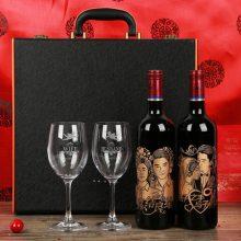 DIY定制照片纯手工雕刻红酒,优质红酒打造新婚创意礼物