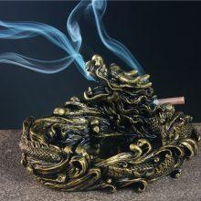 盘龙仿铜复古烟灰缸,一条在办公桌上吞云吐雾的龙