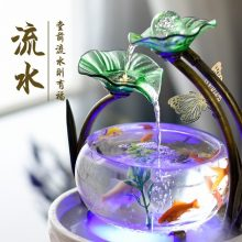 小型鱼缸流水摆件,流水生财做办公装饰非常好