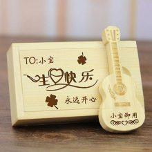 创意盘竹木质吉他U盘,定制logo毕业季创意纪念小礼物