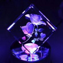 3D内雕内雕水晶玫瑰摆件,永久玫瑰(爱情永恒)