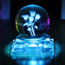 玫瑰花水晶球摆件,一款送给女友唯美浪漫的魔术球