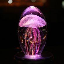 水母旋转水晶八音盒,送给女友的创意情人节礼物