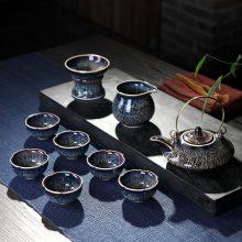 景德镇天目釉窑功夫茶具,适合6人使用的多种套组茶具