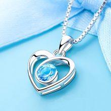 东方佳人托帕石心形纯银项链,超惊艳的一款项链