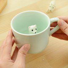 治愈系萌宠马克杯,每个杯子里都有一只陶瓷小动物
