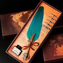 欧式复古羽毛笔礼盒,送同学的精美小礼物