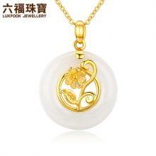六福珠宝康乃馨黄金吊坠项链,送给妈妈的精美礼品