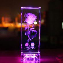 水晶玫瑰3D内雕摆件,可以刻字的创意礼品